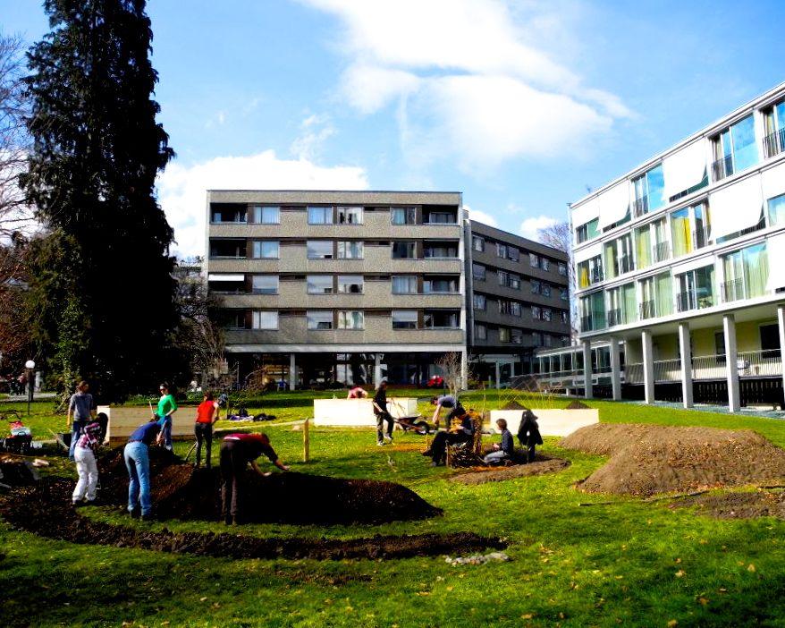 Der Verein «Gemeiner Garten Luzern» bepflanzt das Areal des Betagtenzentrums Eichhof. (Bild: Daniel Stocker)