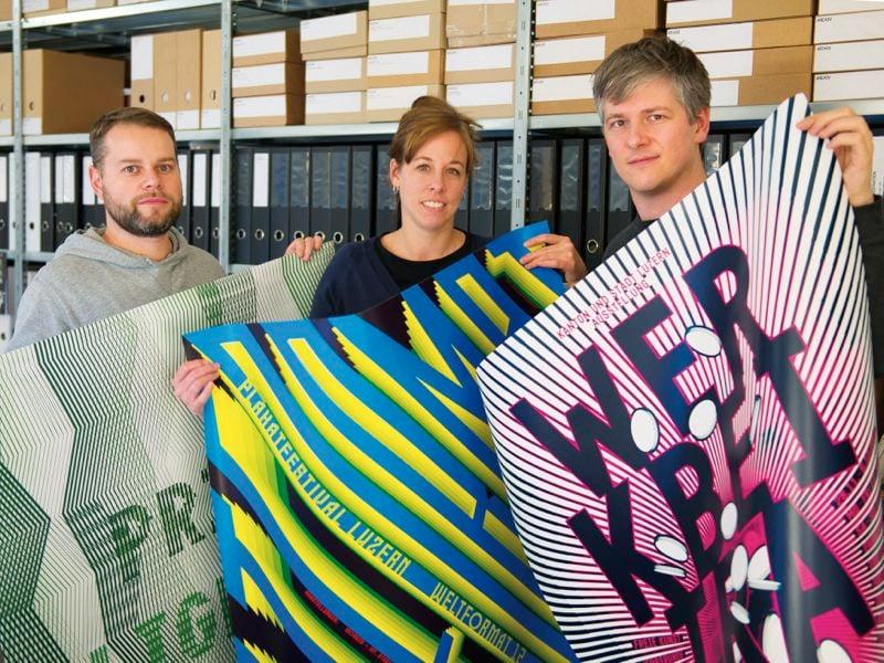 Die Luzerner Plakat-Gestalter Dani Klauser, Fabienne Burri und Cybu Richli.