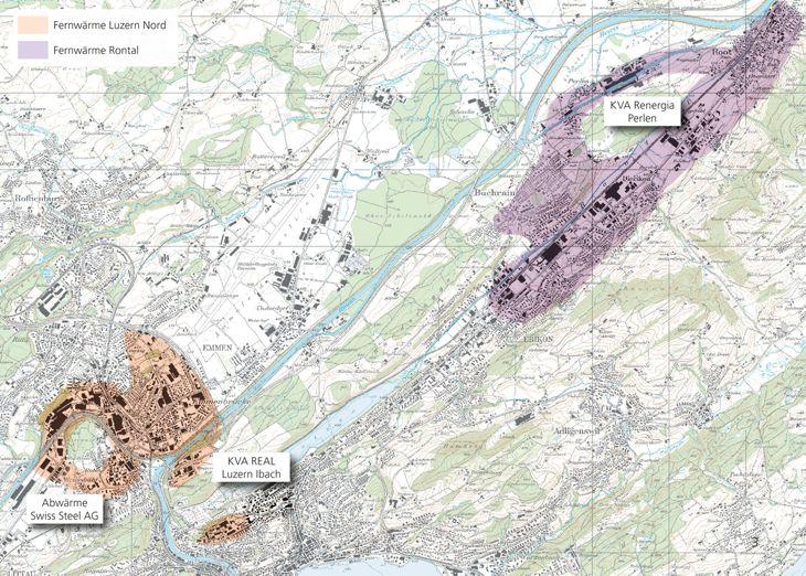 Fernwärme-Karte für Luzern-Nord und Rontal