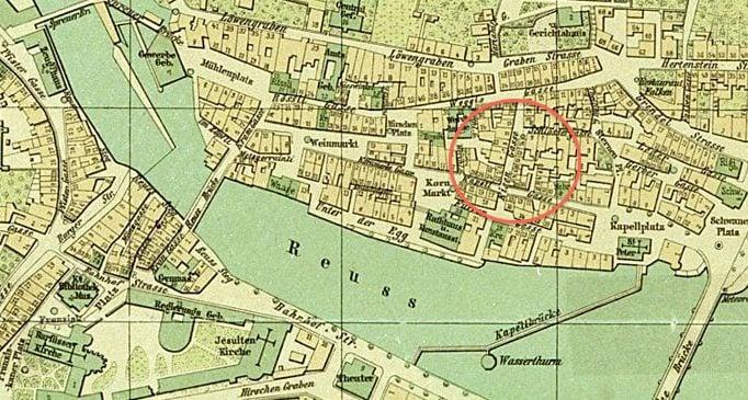 Stadtplan von 1890. Das Quartier rund um die Eisengasse war Luzerns «Vergnügungsmilieu». Quelle: Staatsarchiv Luzern