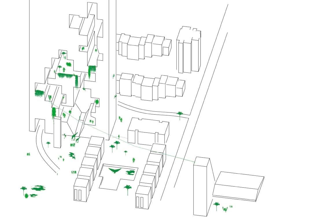 Könnte so das Herti-Quartier einmal aussehen? Der Architekt Melk Nigg entwirft in seiner «Vision» ein endloses Hochhaus und einen neuen Pool mit Walen. Das Scheibenhaus (rechts der Strasse) bleibt wie es ist. (Quelle: Melk Nigg Architects AG SIA)