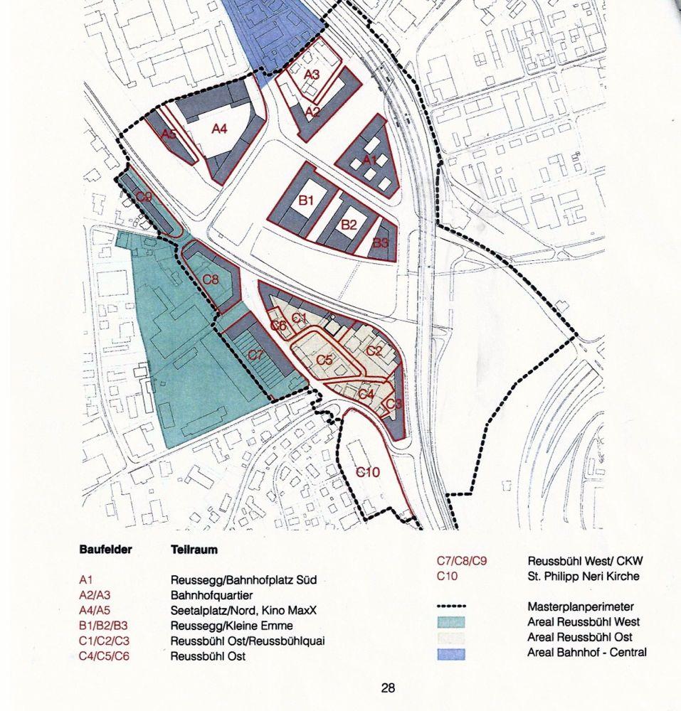 Die Baufelder im Masterplan «Luzern-Nord». A- und B-Felder liegen in Emmen, die C-Felder in Luzern-Reussbühl. Auf A1 plant der Kanton sein Verwaltungsgebäude, auf B1-B3 eine Wohnüberbauung.