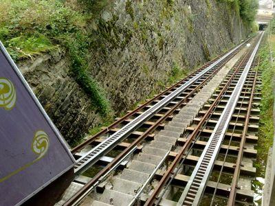 Sicht von der Bergstation: Steile Fahrt nach unten.