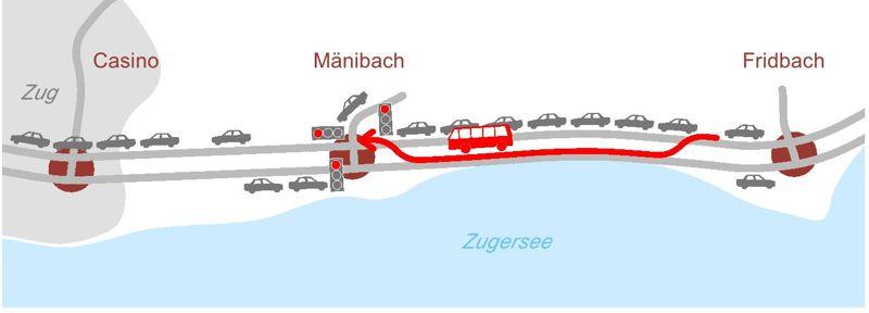 Ein Versuch, die Lösung der elektronischen Busspur graphisch darzustellen. (Bild: zvg Kanton Zug)