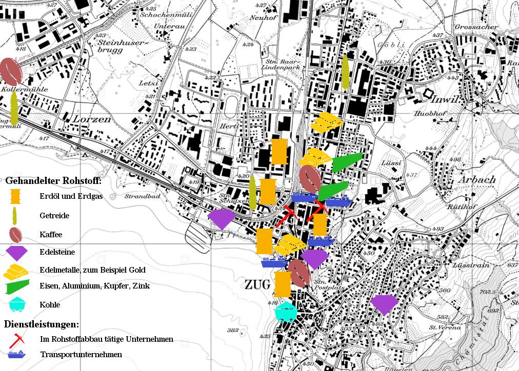 Der Rohstoffhandel in der Stadt Zug konzentriert sich auf das Zentrum rund um den Bundesplatz. Äusserlich weist nichts auf die hier tätigen Unternehmen hin. (Grafik: mag)