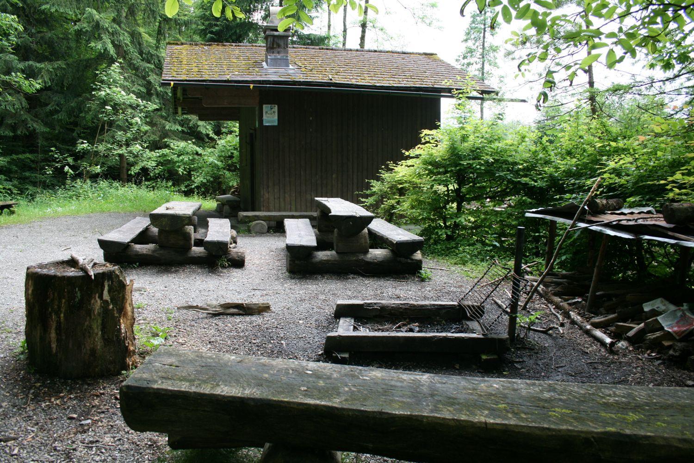 Neben der Waldhütte im Bireggwald hat es genügend Tische und Bänke für eine Grill-Party. (zod)