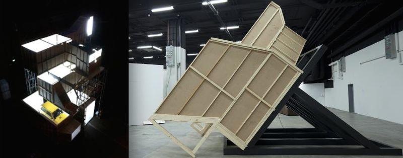 Links: The White Cube an der Ausstellung Jungkunst in Winterthur. Rechts: Das geneigte Kunstwerk an der Art Basel. (Bild: zvg)