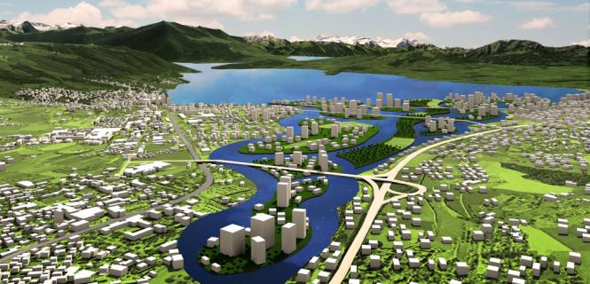 Zug könnte auch so aussehen: Eine Wasserstadt an der Lorze.