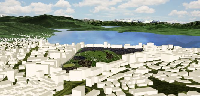 Das Lorzendelta als Centralpark: Einfach immer weitergebaut, bis nur noch ein Fleck grün übrigbleibt. Ist das Zugs Zukunft? Interessiert die Zuger nicht.