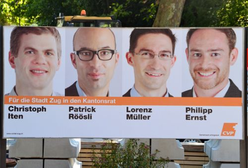 CVP-Plakat in der Stadt Zug.