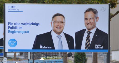 FDP-Plakat am Stadtrand von Baar.