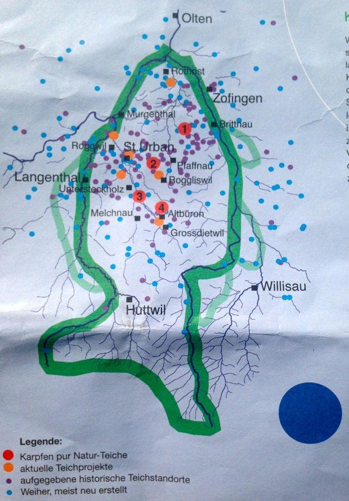 Eine Karte mit den Standorten der früheren und der heutigen Karpfenteiche im Rottal der drei Kantone.