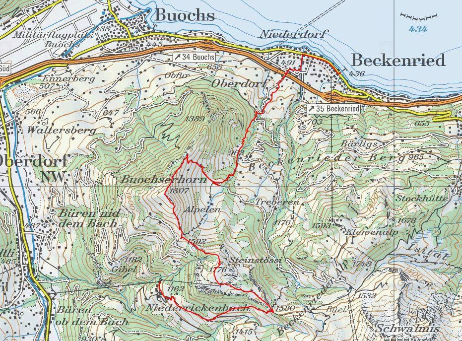 Die Wanderroute führt von Maria-Rickenbach über die Musenalp und das Buochserhorn nach Beckenried. (Screenshot wanderland.ch)