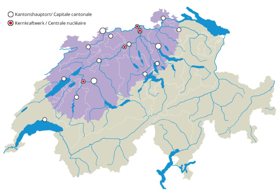 Viele Luzerner und Zuger Gemeinden sind im Umkreis der AKW's Gösgen und Leibstadt.