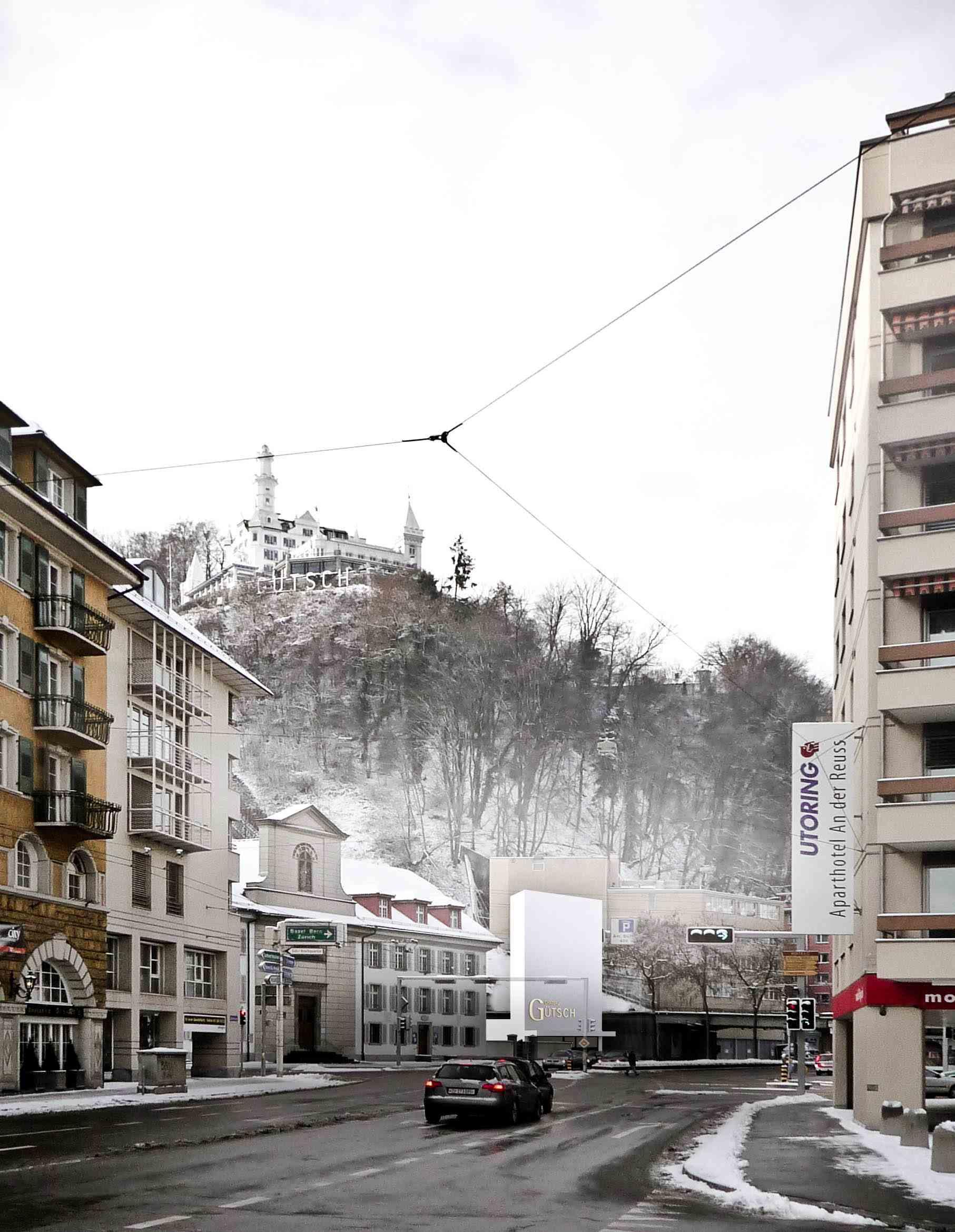 Modellfoto der Talstation für die neue  Gütschbahn.
