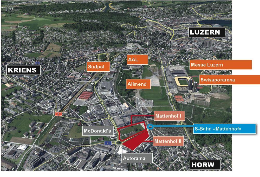 Auf dem Areal Mattenhof II soll bis 2018 eine grosse Sport- und Eventhalle entstehen. 30 Millionen kostet das Projekt.