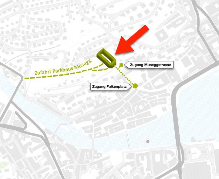 Diese Lage hätte das unterirdische Parkhaus. (Quelle: www.museggparking.ch)
