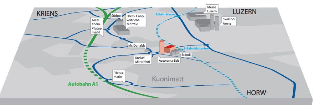 3D-Karte der geografischen Einbettung der Pilatus Arena.