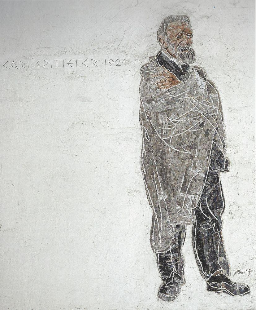 Diese Hommage an Carl Spitteler befindet sich an einer Fassade beim Luzerner Krematorium.