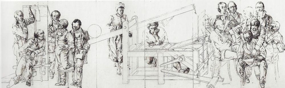 Dieses Bild machte Erni für eine Litographie-Ausstellung. Heute schmückt es den Lesesaal in der ZHB.