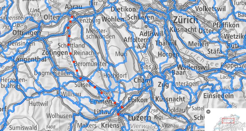 Gemütlich von Luzern nach Aarau fahren. (veloland.ch)