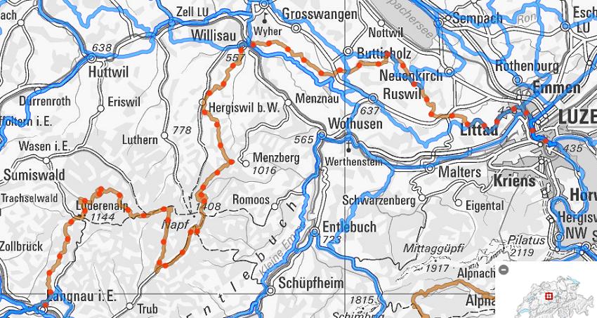 Für Mountainbiker: Über den Napf nach Willisau. (veloland.ch)
