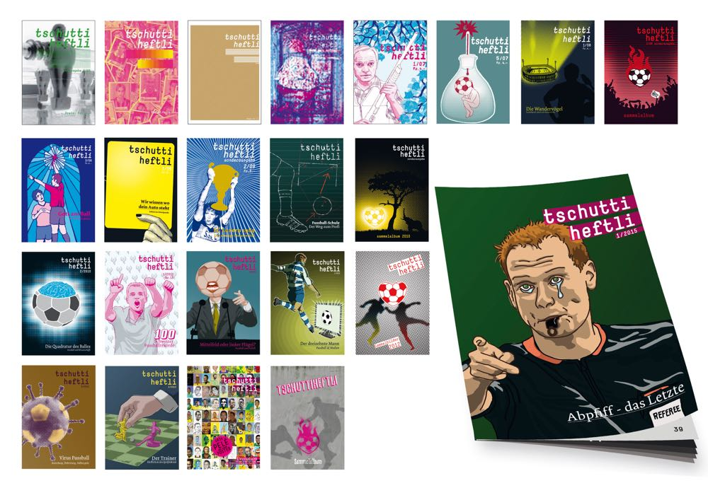 Titelcovers sämtlicher «tschutti heftli» Ausgaben.