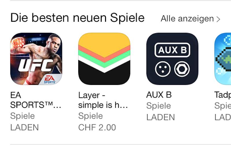 Empfehlung von Apple: Die App «AUX B»kursiert auf der Startseite des App-Stores
