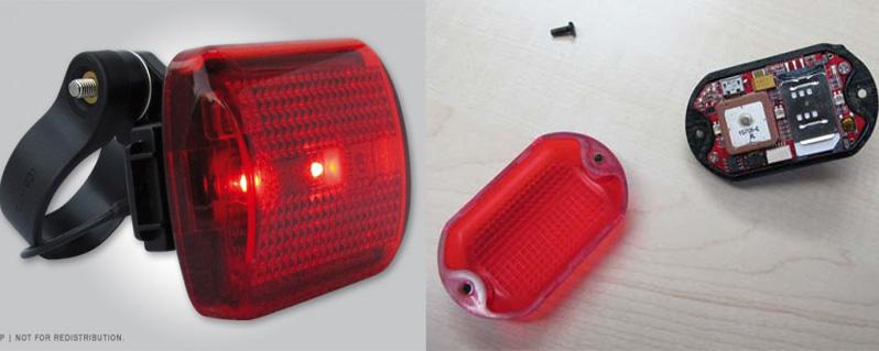 «Spylamp»: Von Aussen eine gewöhnliche Rückleuchte, innen mit verstecktem GPS-Sender.