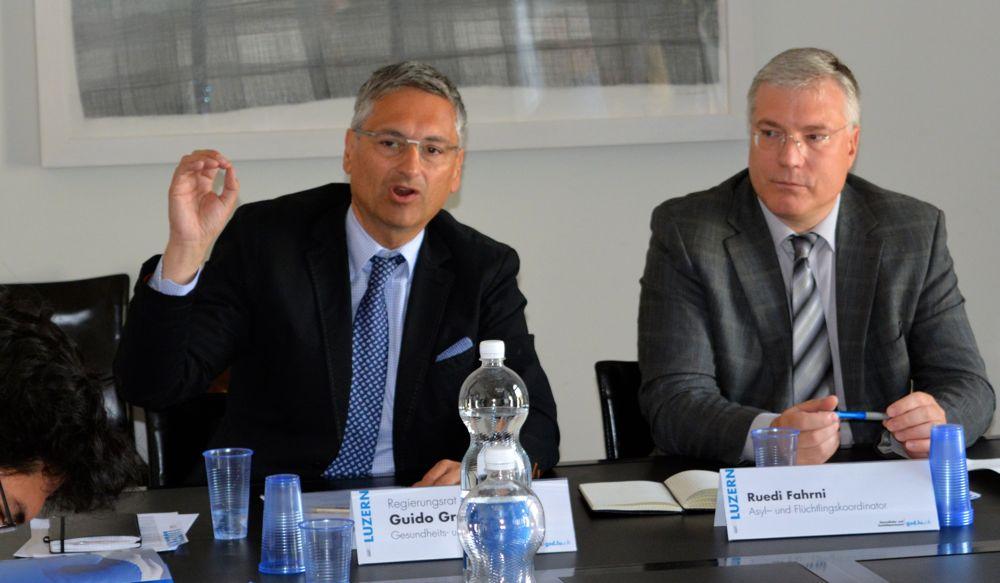 Der Luzerner «Sozialdirektor» Guido Graf (CVP) und Ruedi Fahrni, Asyl- und Flüchtlingskoordinator des Kantons Luzern.
