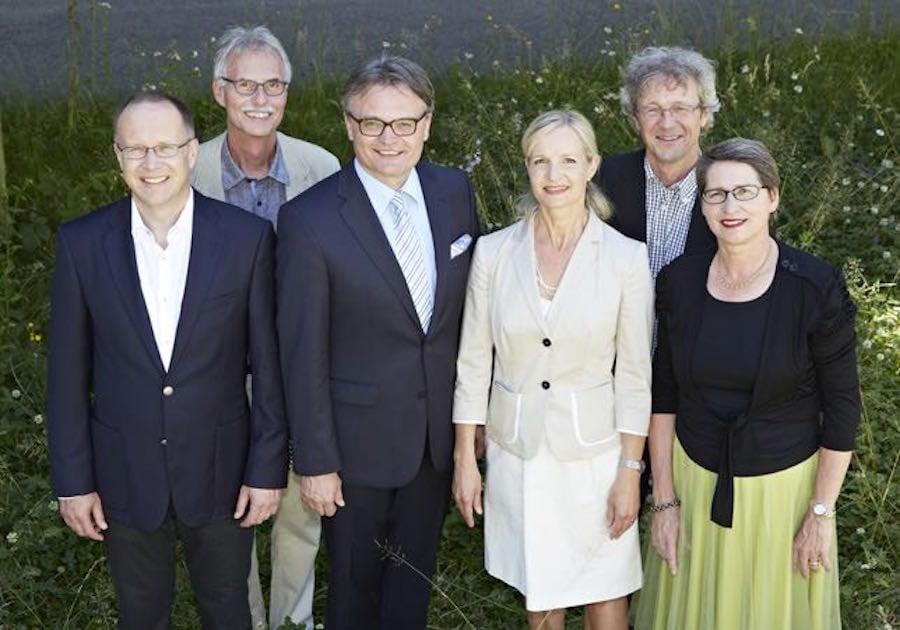 Der Luzerner Stadtrat: Martin Merki (von links), Stadtschreiber Toni Göpfert, Stadtpräsident Stefan Roth, Manuela Jost, Adrian Borgula und die abtretende Ursula Stämmer.