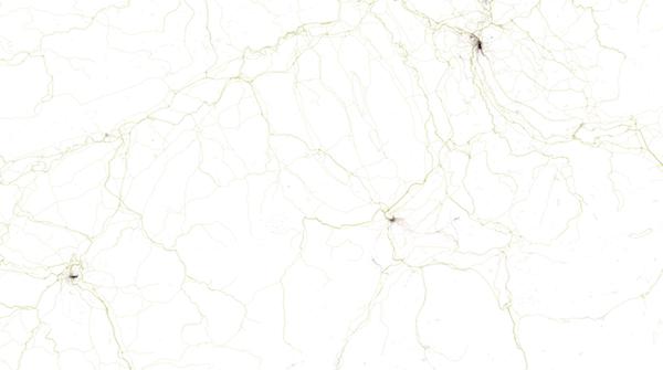 Das Dreieck: Zürich, Bern, Luzern auf dem Geotaggers' World Atlas.