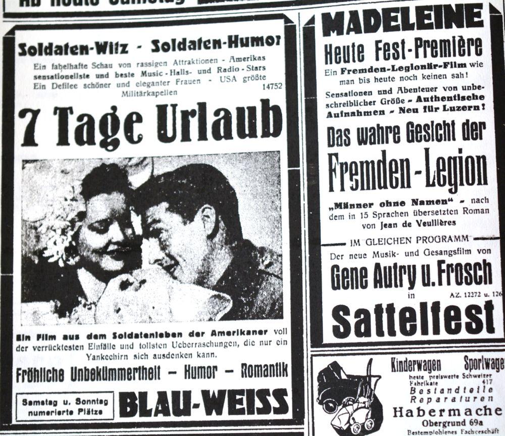 Luzerner Kinoanzeigen – auch in den gezeigten Filmen spiegelt sich der Krieg.