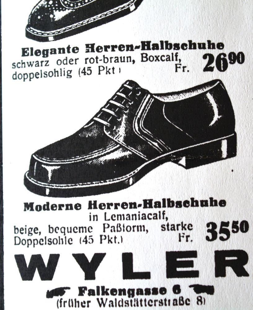 Herrenschuhe kosten um die 30 Franken, damals viel Geld.