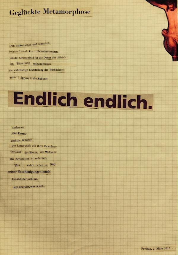 Ein Schnipselgedicht von Juliane Lang.