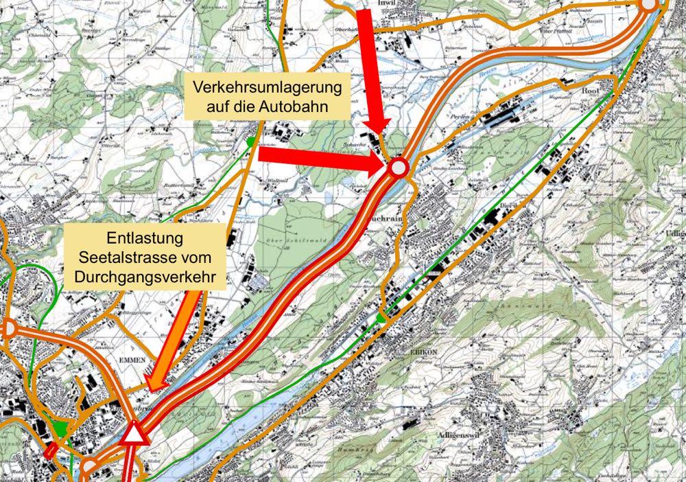 Würde der überregionale Verkehr auf die Autobahn geleitet, könnte das Verkehrsaufkommen auf der Seetalstrasse um bis zu 30 Prozent reduziert werden.