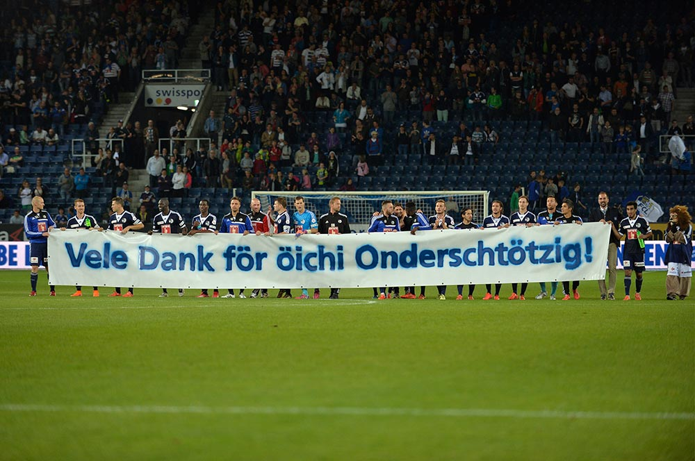 Mit diesem Spruchband bedankten sich die FCL-Spieler beim Publikum (Foto: Dominik Stegemann).
