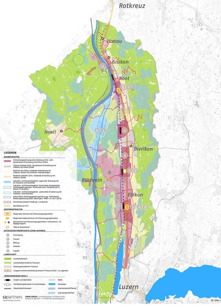 Dunkerot: Entwicklungsschwerpunkte mit hoher Dichte Rot: Urbane Gebiete mit dynamischer Entwicklung Gelb: Wohnen am Hang mit moderater Entwicklung Grau: Industrie- und Gewerbegebiet
