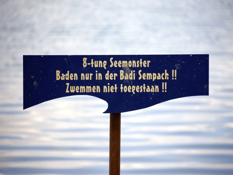 «Achtung Seemonster»: Diese Warnung am Sempachersee richtet sich nicht nur an Einheimische sondern auch an Badegäste aus Holland. (Bild: Emanuel Ammon/AURA)
