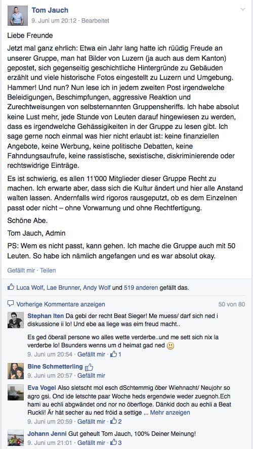 Mit diesem Beitrag versucht Thomas Jauch, die Gruppenmitglieder zur Räson zu bringen. (Bild: Facebook)