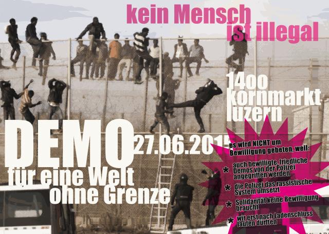 Mit diesem Flyer wollen die Initianten für die Demo «Für eine Welt ohne Grenzen» mobilisieren (Foto: Indymedia).