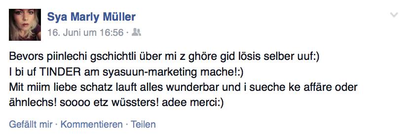 Mit diesem Facebookpost erstickte Sya Müller die Gerüchte um ihren Beziehungsstatus im Keim