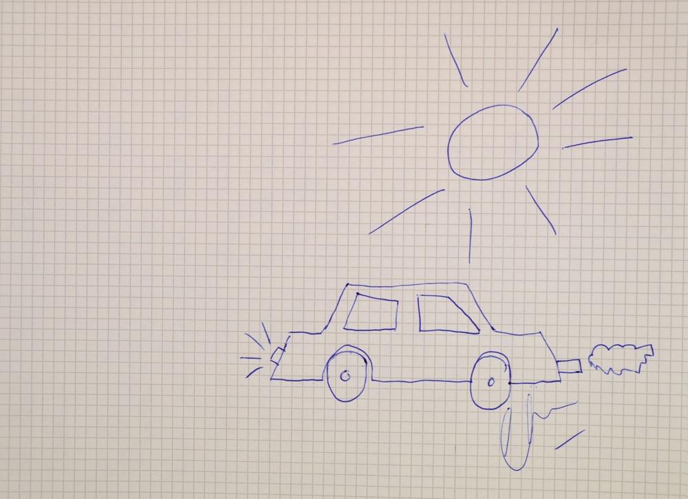 «Ich kann nicht zeichnen»: Es ging dann aber doch. Klar und deutlich eine Fahrt ins Blaue. Und natürlich hat der Künstler sein Werk gerade signiert.