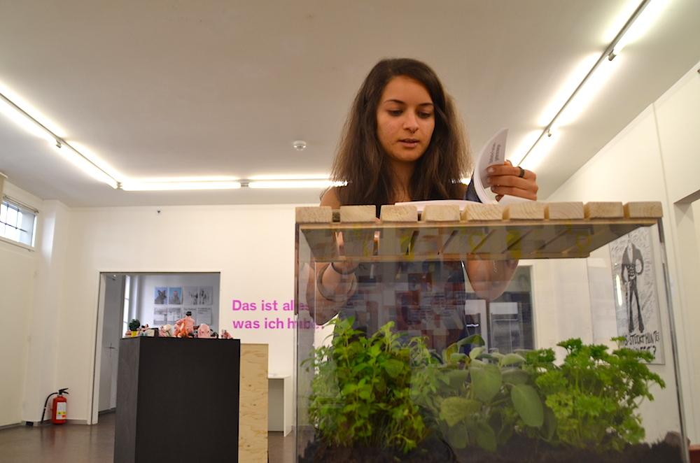 Joana Fischer mit ihrer Arbeit zum Thema «Luzerner Schrebergärten»