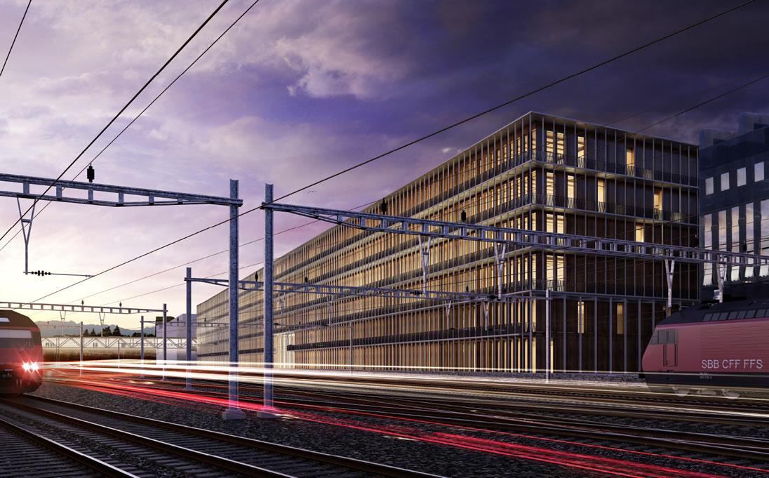 Die SBB-Überbauung Rösslimatt schafft 20'000 Quadratmeter Büroräume für Firmen in der Stadt Luzern.
