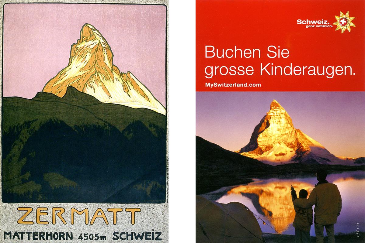 Eine Gegenüberstellung eines alten und eines neuen Tourismusplakats. Diese war Teil der Einladung zur Mitarbeit für die Ausstellung an die Grafiker.