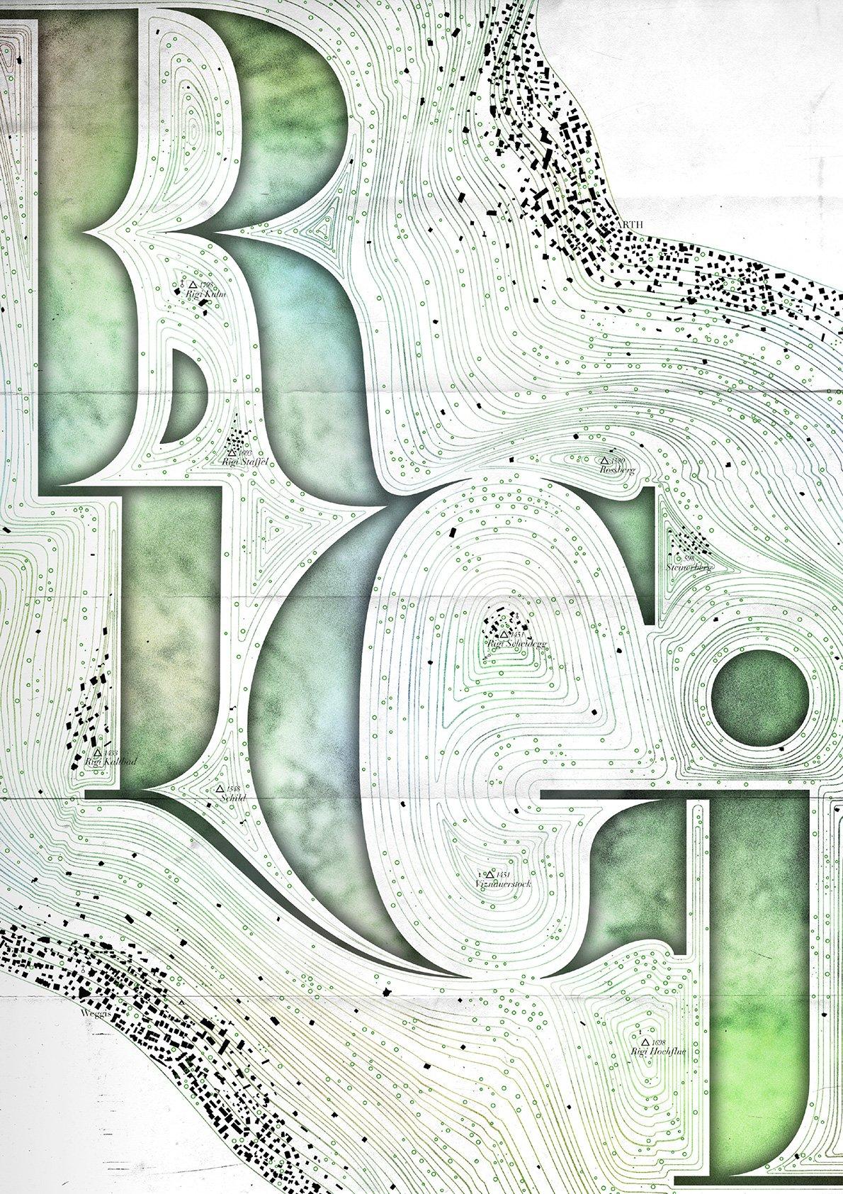 Ein Plakat für die Rigi von Joel Burri, Student Graphic Design, Hochschule Luzern – Design & Kunst.