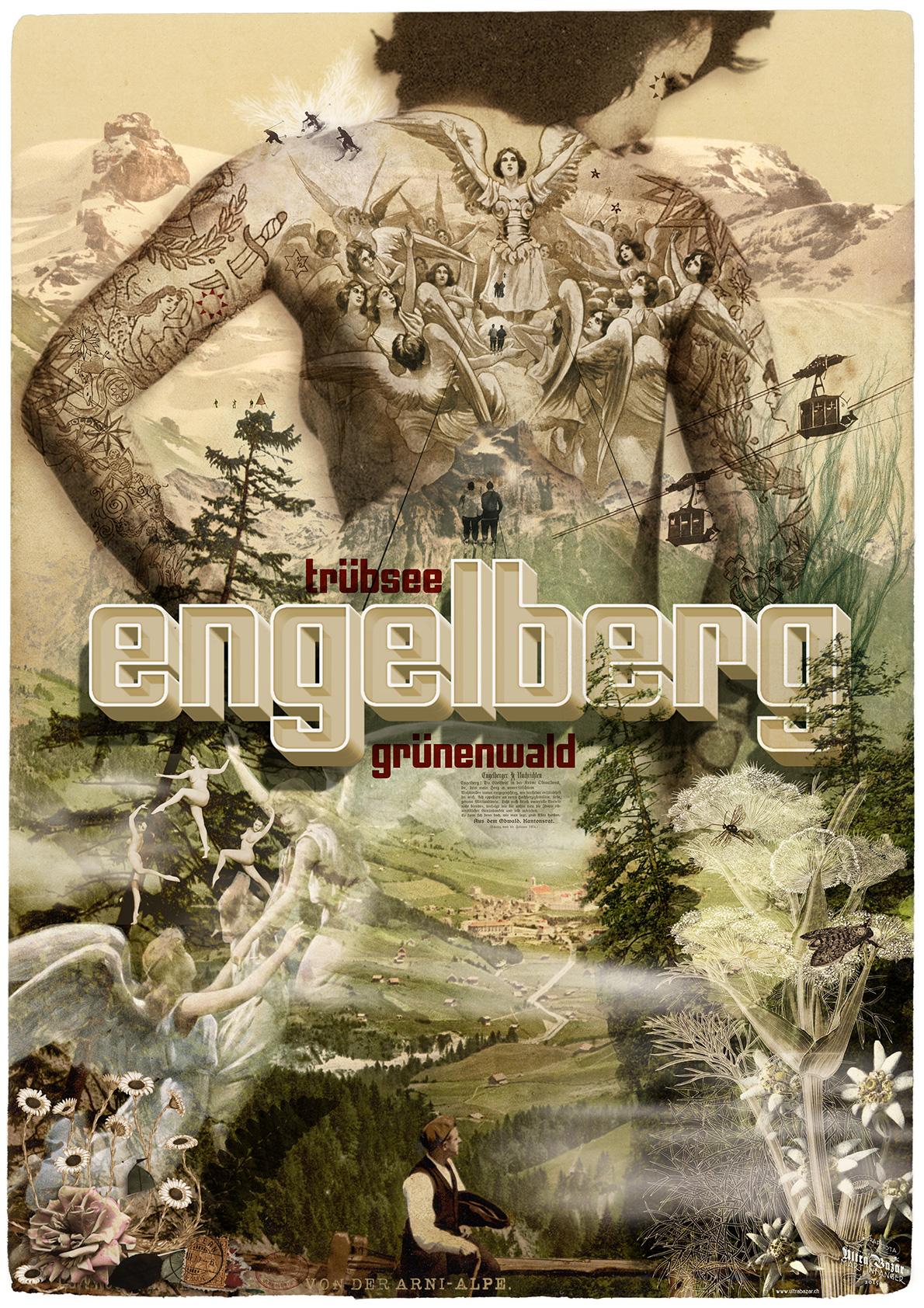Ein Plakat für Engelberg von Märt Infanger. Ein bekannter Stil für alle, die die Band «Jolly and the Flytrap» kennen.