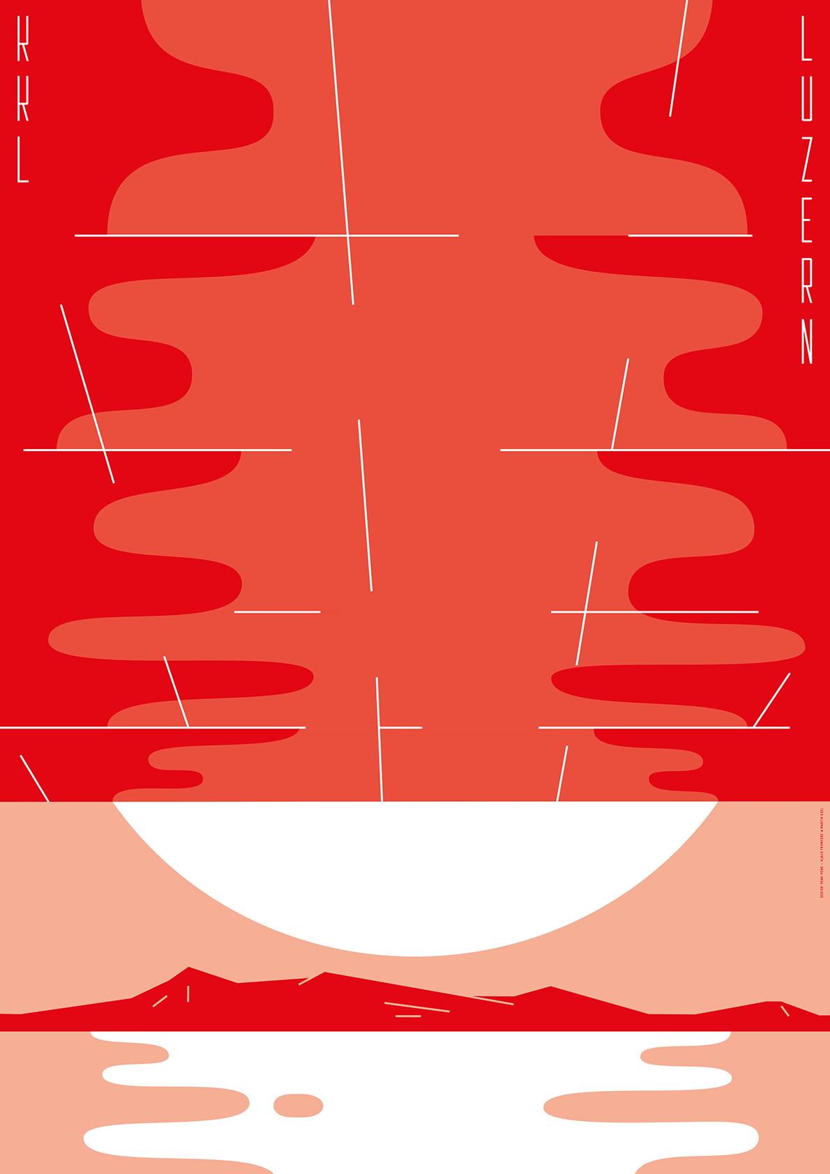 Ein Plakat für Luzern mit dem Fokus auf dem KKL-Dach von «PengPeng».