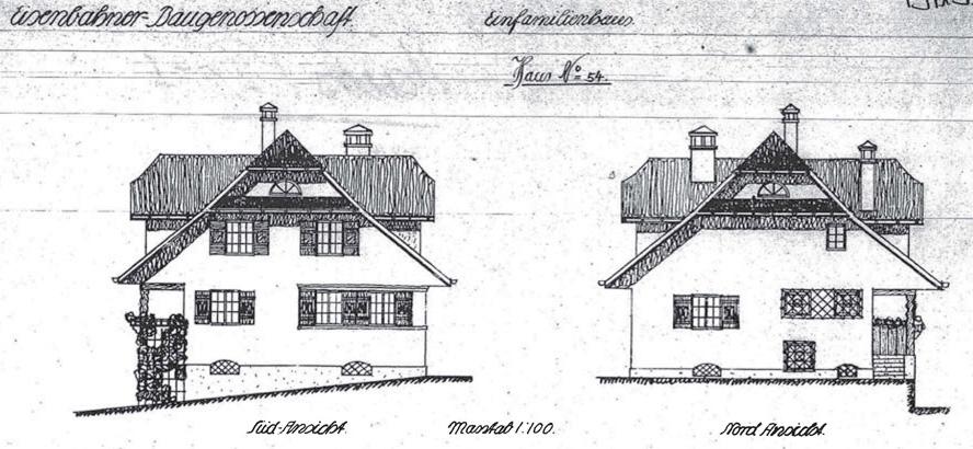 Eine Modellzeichnung des Hauses am Höhenweg 4 der Architekten aus der ersten Bauphase von 1911-1914 (Bild: Denkmalpflege Kanton Luzern).